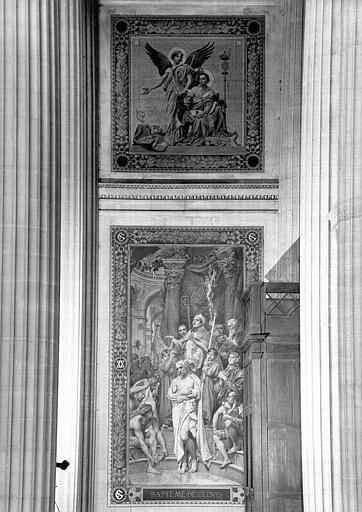 Peinture murale : Saint Jean l'Evangéliste écriavnt sous la dictée de l'ange (?) (haut), et Baptême de Clovis (bas)