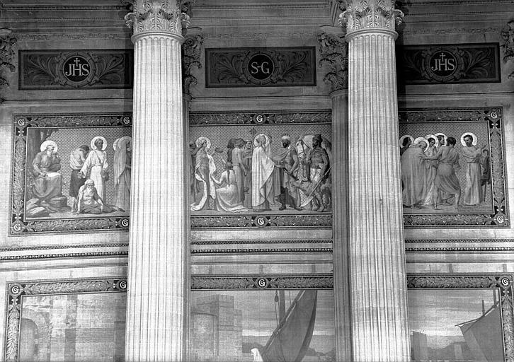 Peinture murale : Frise au-dessus de sainte Geneviève ravitaillant Paris