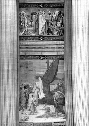Peinture murale : Sainte Geneviève ravitaillant Paris (partie centrale)