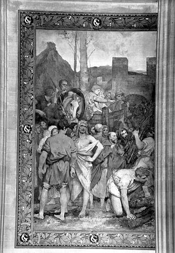 Peinture murale : Sainte Geneviève rend la confiance et le calme aux Parisiens (partie gauche)