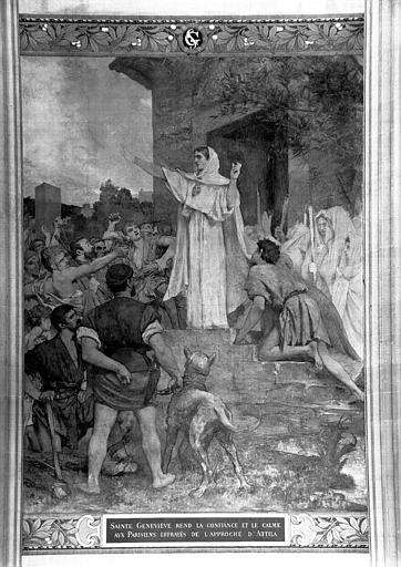 Peinture murale : Sainte Geneviève rend la confiance et le calme aux Parisiens (partie centrale)