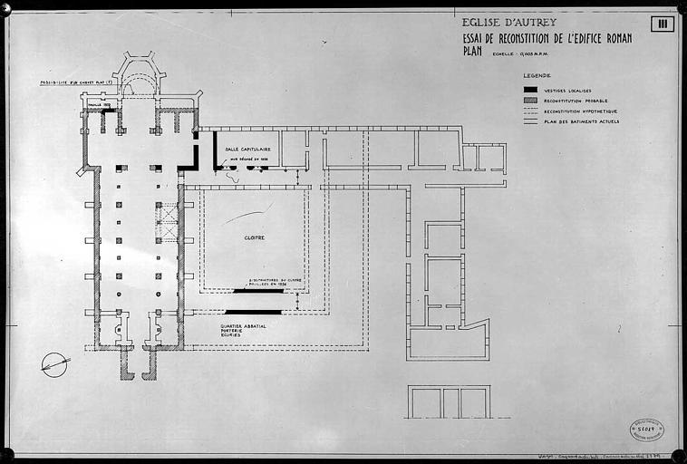 Essai de reconstitution de l'édifice roman : Plan général de l'église et des dépendances (cloître, salle capitulaire...)