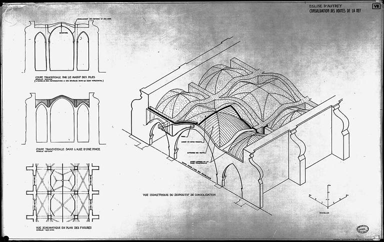 Consolidation des voûtes de la nef : Plan, coupes et vue isométrique