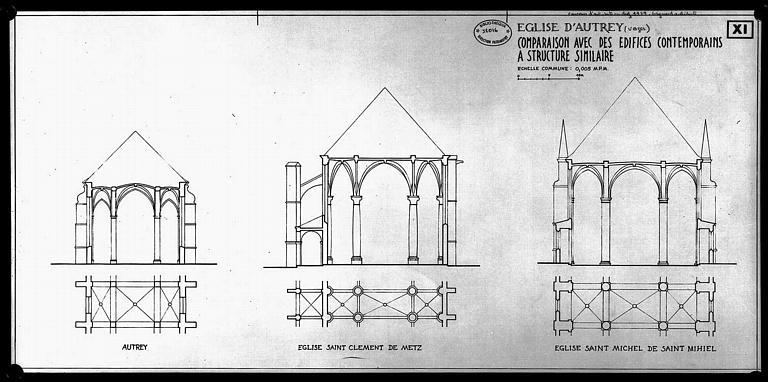 Comparaison avec des édifices contemporains à structures similaires : Plan et coupe d'une travée des églises de Saint-Clément de Metz et Saint-Michel de Saint-Mihiel