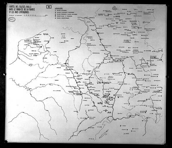 Carte des églises-halles dans le nord-est de la France et les pays limitrophes