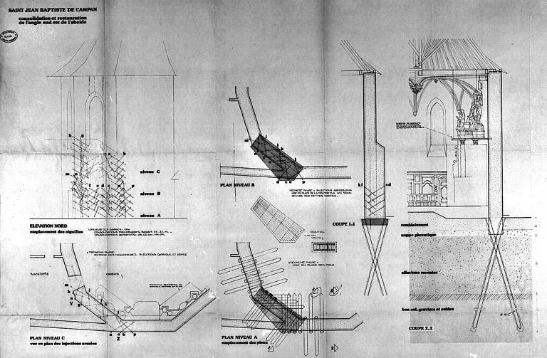 Consolidation et restauration de l'angle sud-est de l'abside : Plans, coupes et élévations (détails)
