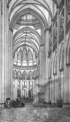 Vue intérieur de la nef vers le choeur (dessin à la mine plomb)