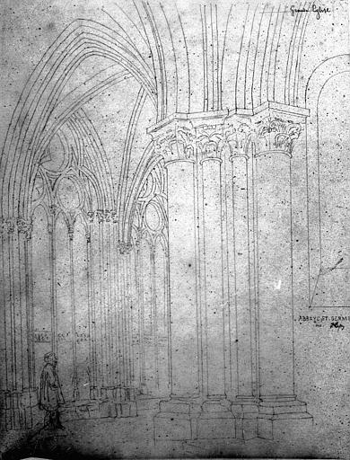 Vue intérieure de la nef : Détail des piles (dessin à la mine plomb)