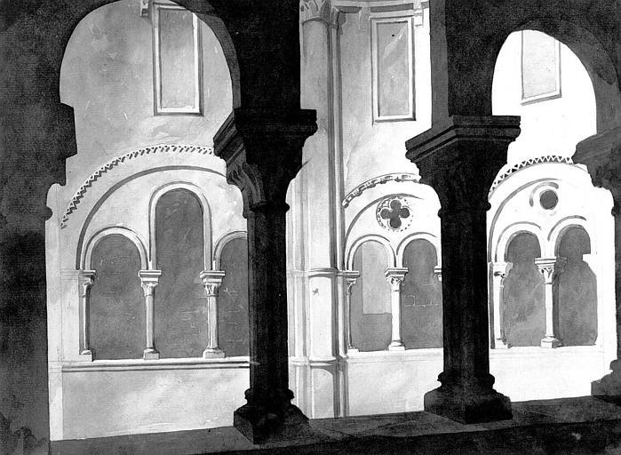 Vue intérieure de la tribune du choeur (aquarelle)