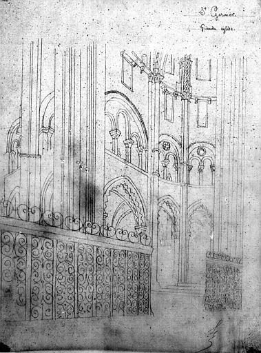 Vue intérieure du choeur et barrière de chancel (dessin à la mine plomb)