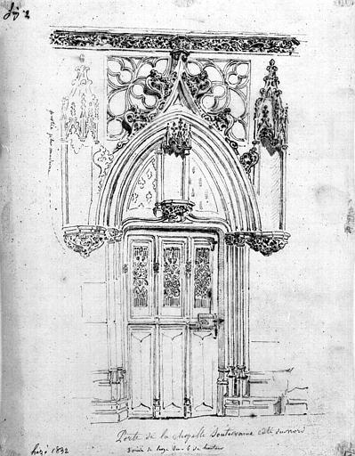 Porte de la crypte côté nord (dessin à la mine de plomb)
