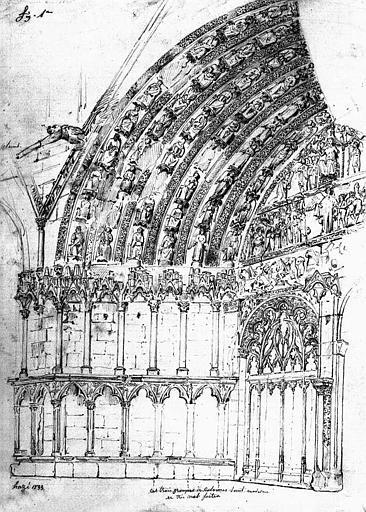Portail central de la façade occidentale (dessin)