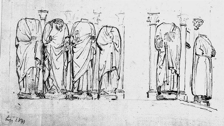 Statues du piédroit du portail central de la façade ouest (dessin)