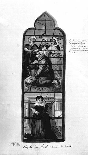 Relevé à l'aquarelle : Vitrail de la chapelle des fonts baptismaux, meneau de droite