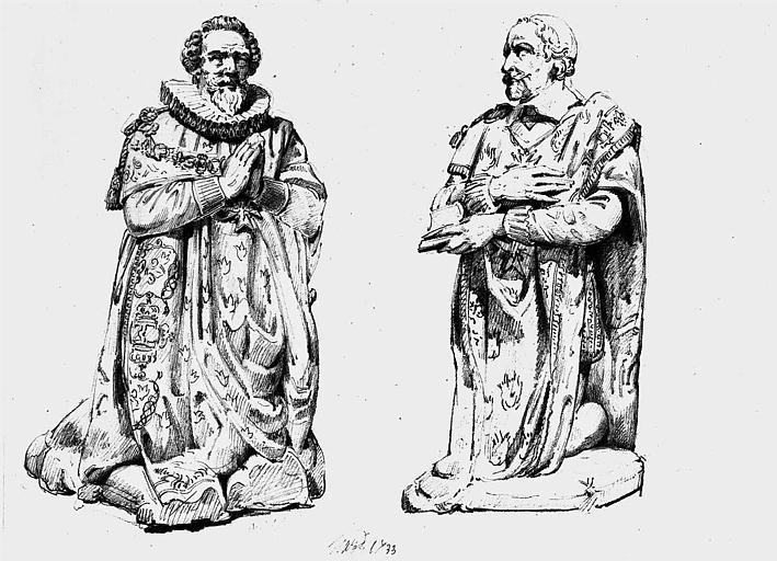 Statue orante du maréchal Montigny, 1e chapelle du 2e collatéral nord intérieur (dessin à la mine de plomb)