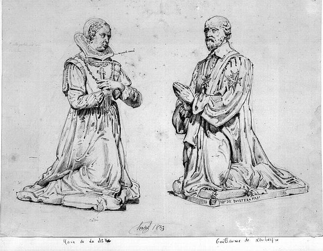 Statues orantes de Marie de la Châtre et Guillaume de Laubesper, 1e chapelle du 2e collatéral nord intérieur (dessin à la mine de plomb)