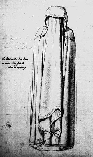 Pleurant du tombeau du Duc Jean de Berry (Dessin grandeur nature à la mine de plomb)