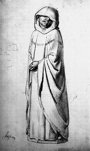 Pleurant du tombeau du Duc Jean de Berry (Dessin à la mine de plomb)