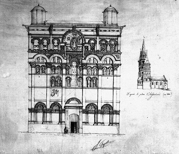 Elévation de la façade ouest et vue perspective (dessin mine de plomb)