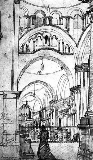 Vue intérieure de la nef vers l'ouest (dessin à la mine de plomb)