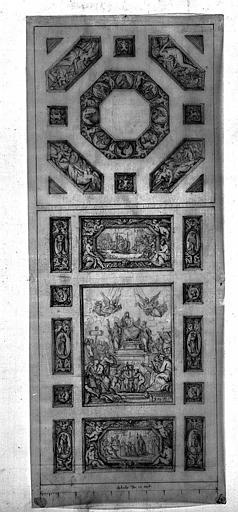 Plafond de la cour Royale (dessin mine de plomb)