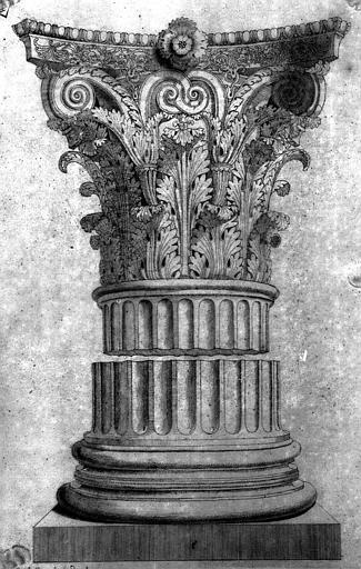 Chapiteau corinthien (dessin mine de plomb)