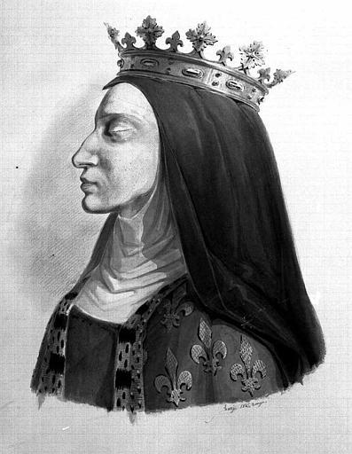 Portrait aquarellé de reine vue de profil