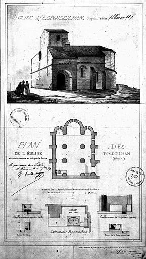 Vue perspective, plan général et détails du baptistère