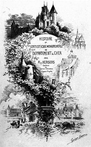 Gravure : Page de titre 'Histoire et statistique monumentale du département du Cher' par A. de Kersers