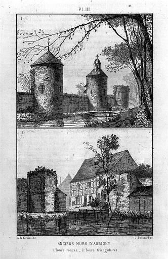 Gravure : Deux vues perspectives des remparts (tours rondes et tours triangulaires)