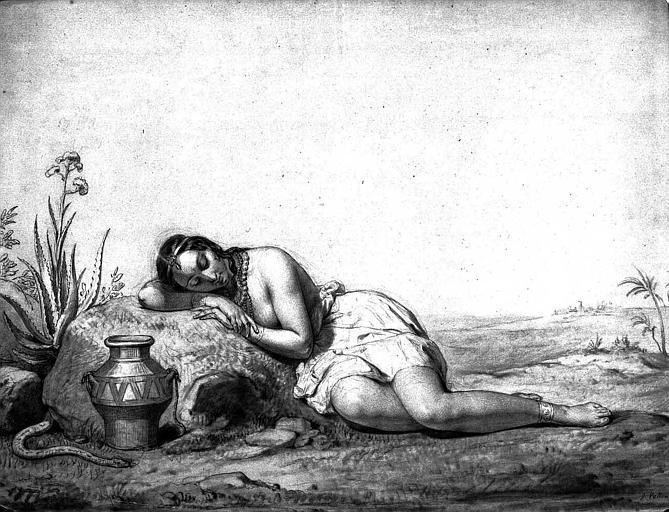Dessin : Jeune indienne endormie
