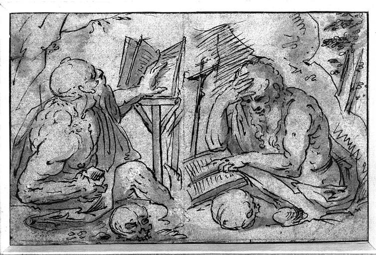 Dessin à la plume et lavis : Deux études de saint Jérôme