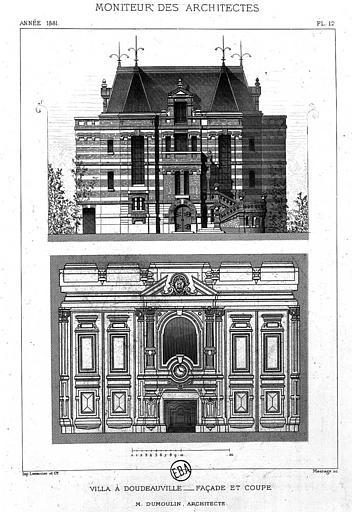 Gravure : Elévationde la façade et coupe