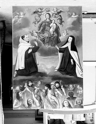 Peinture sur toile : Le Rosaire et les âmes du Purgatoire