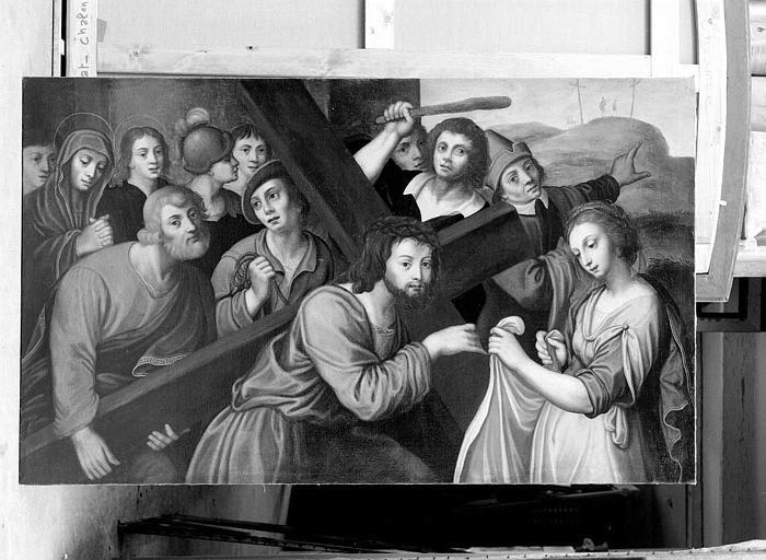 Peinture sur toile du retable de l'autel du transept sud : Le Christ portant sa croix et sainte Véronique