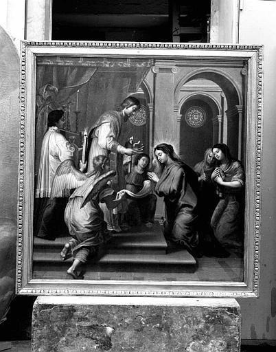 Peinture sur toile : Saint Jean donnant la communion à la Vierge