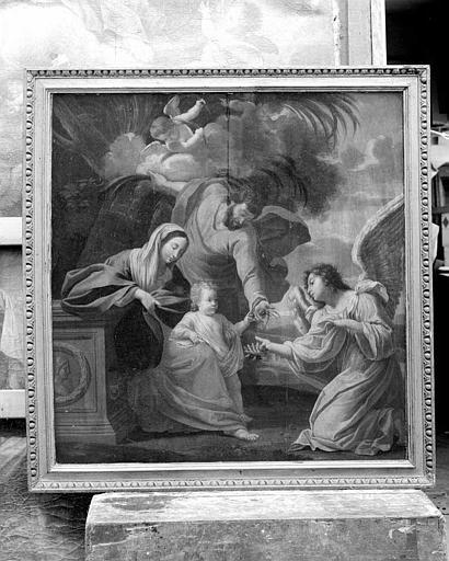 Peinture sur toile : Sainte Famille et un ange