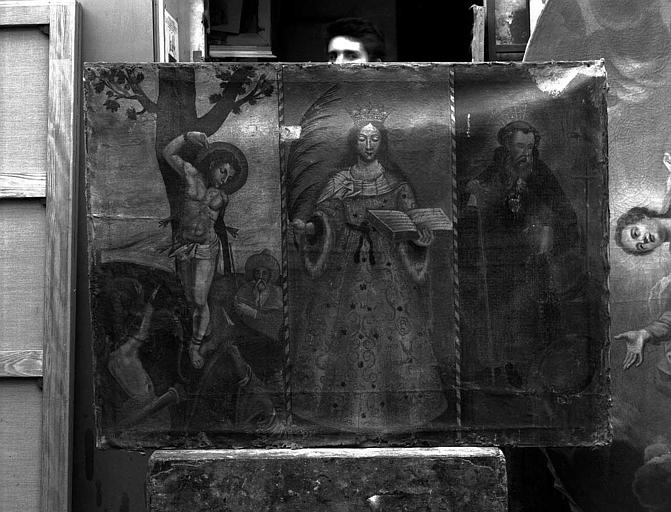 Peinture sur toile : Saint Sébastien, sainte Catherine, saint Antoine