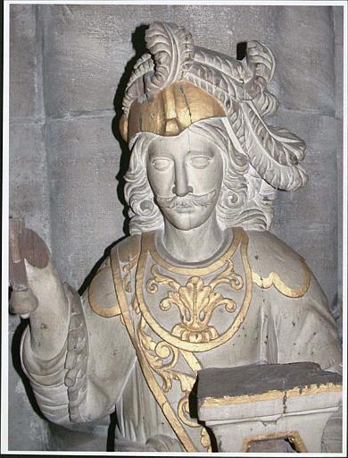 Statue : saint Adrien, visage