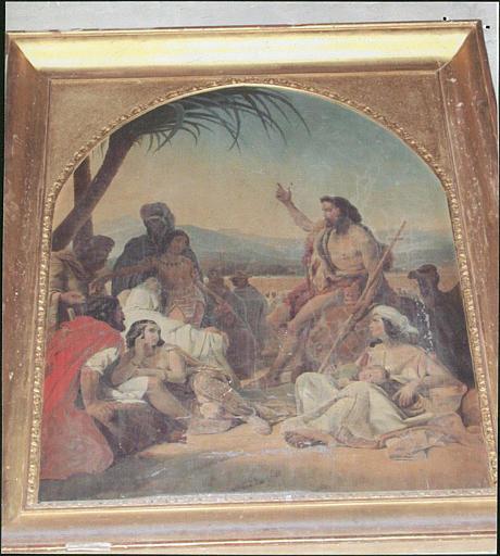 Tableau et son cadre : saint Jean-Baptiste prêche dans le désert