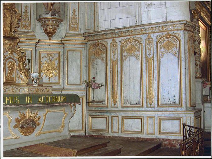Ensemble du maître-autel, lambris, partie droite