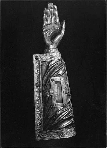 bras-reliquaire de saint Fiacre, avers