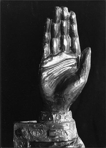 Bras-reliquaire de saint Fiacre, détail de la main