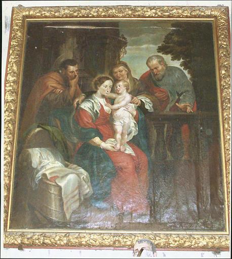 Tableau et son cadre : sainte Famille avec sainte Anne et saint Joachim
