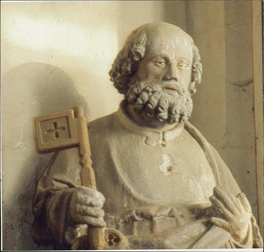 statue : saint Pierre, buste et visage