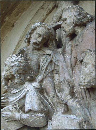 Relief : les quatre évangélistes, détail partie gauche