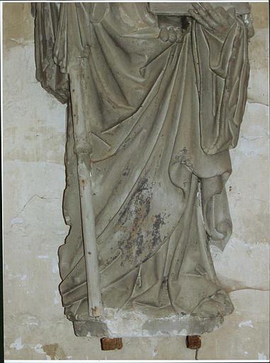 Statue : saint Martin, détail du bas du manteau