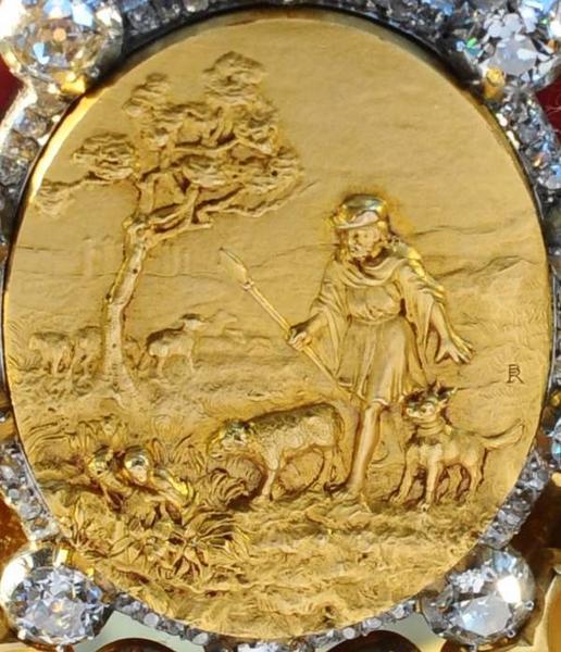 couronne de la Vierge (statue de Notre-Dame de Brébières) : détail du médaillon