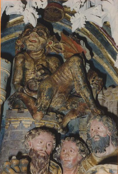 4 bas-reliefs : La Lutte de saint Jacques contre Hermogène