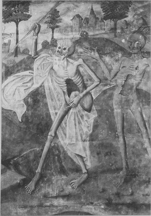 Peintures monumentales : Le Dit des trois morts et des trois vifs, Le recouvrement des reliques de saint Riquier par Hugues Capet